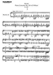 Concerto for Piano and Orchestra No.20 in D Minor, K.466: Arrangement for two pianos four hands by Wolfgang Amadeus Mozart