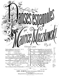 Five Spanish Dances, Op.12: Dance No.3, for violin, cello (or violin II) and piano – violin II part by Moritz Moszkowski