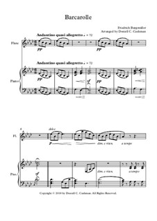 No.22 Barcarolle: For flute and piano by Johann Friedrich Burgmüller