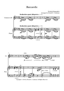 No.22 Barcarolle: For clarinet and piano by Johann Friedrich Burgmüller