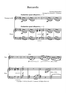 No.22 Barcarolle: For trumpet and piano by Johann Friedrich Burgmüller
