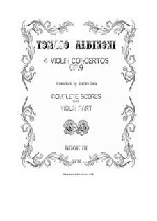 Dodici concerti a cinque, Op.9: Four Concertos for violin and cembalo (or piano) - scores and part by Tomaso Albinoni