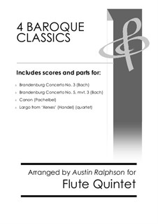 4 Baroque Classics: For flute ensemble or quintet bundle / book / pack by Johann Sebastian Bach, Georg Friedrich Händel, Johann Pachelbel