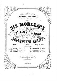 Six Pieces for Violin and Piano, Op.85: No.1 March – score by Joseph Joachim Raff