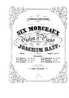 Six Pieces for Violin and Piano, Op.85: No.4 Scherzino – score by Joseph Joachim Raff