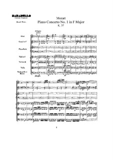 Concerto for Piano and Orchestra No.1 in F Major, K.37: Full score by Wolfgang Amadeus Mozart