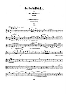 Fantasy Pieces for Clarinet (or Violin) and Piano, Op.22: Clarinet part by Carl Reinecke