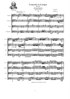 Concerto for Strings in A Major, RV 158: Version for string quartet - complete score and parts by Antonio Vivaldi