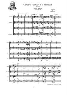 Concerto for Strings in B Flat Major, RV 163: For string quartet by Antonio Vivaldi