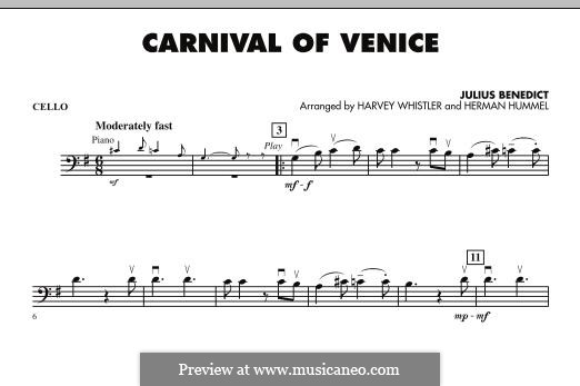 Carnival of Venice: Cello part (arr. Harvey Whistler) by Julius Benedict