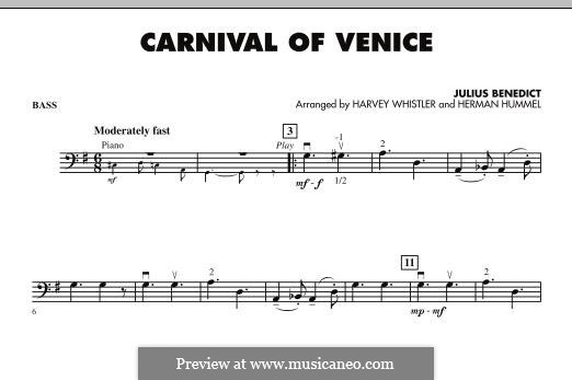 Carnival of Venice: Bass part (arr. Harvey Whistler) by Julius Benedict