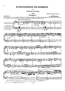 Fragments: Introduction to Act I, for two pianos eight hands – piano I part by Richard Wagner