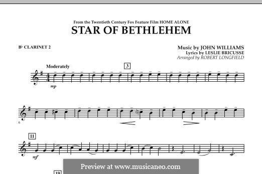The Star of Bethlehem (from 'Home Alone'): Bb Clarinet 2 part by John Williams