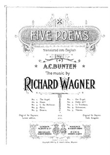 Wesendonck Songs, WWV 91: No.3 In the Greenhouse (German and englisch texts) by Richard Wagner