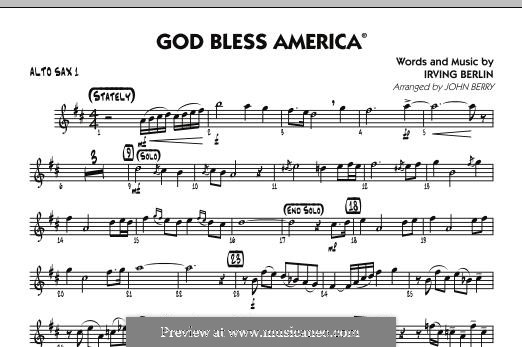 God Bless America: Alto Sax 1 part by Irving Berlin