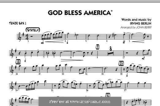 God Bless America: Tenor Sax 1 part by Irving Berlin