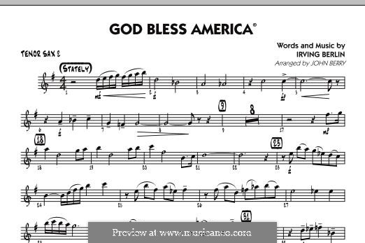 God Bless America: Tenor Sax 2 part by Irving Berlin
