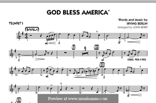 God Bless America: Trumpet 3 part by Irving Berlin