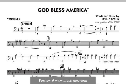 God Bless America: Trombone 2 part by Irving Berlin