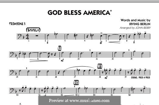 God Bless America: Trombone 3 part by Irving Berlin
