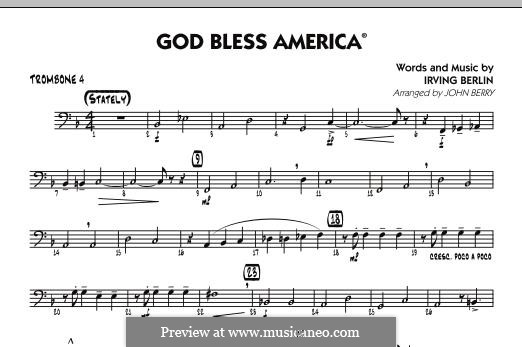 God Bless America: Trombone 4 part by Irving Berlin