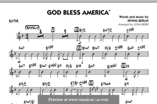 God Bless America: Guitar part by Irving Berlin
