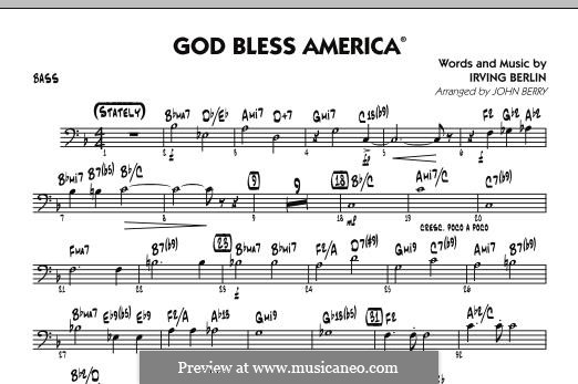 God Bless America: Bass part by Irving Berlin