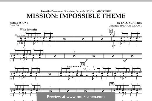 Mission: Impossible Theme: Percussion 1 part by Lalo Schifrin