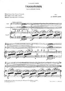 Fragments: For piano trio by Richard Wagner