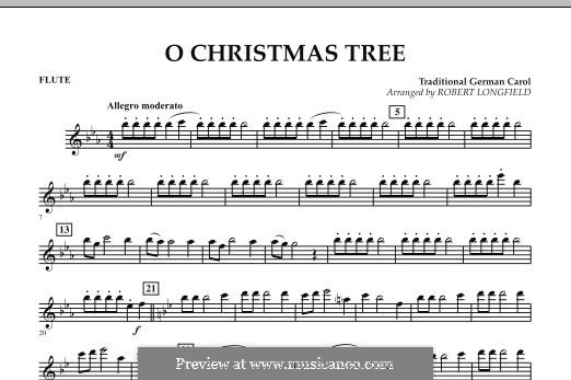 O Christmas Tree, for Orchestra: Flute part by folklore