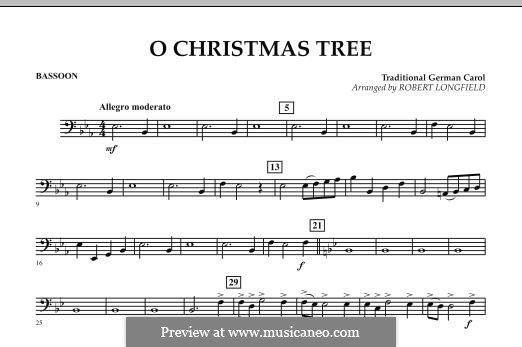O Christmas Tree, for Orchestra: Bassoon part by folklore