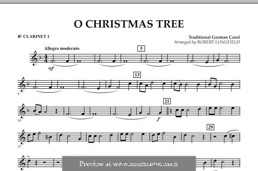 O Christmas Tree, for Orchestra: Bb Clarinet 1 part by folklore