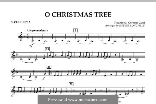 O Christmas Tree, for Orchestra: Bb Clarinet 2 part by folklore