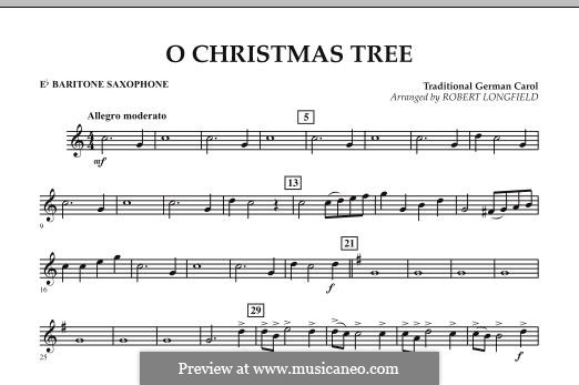O Christmas Tree, for Orchestra: Eb Baritone Saxophone part by folklore