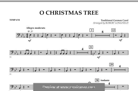 O Christmas Tree, for Orchestra: Timpani part by folklore