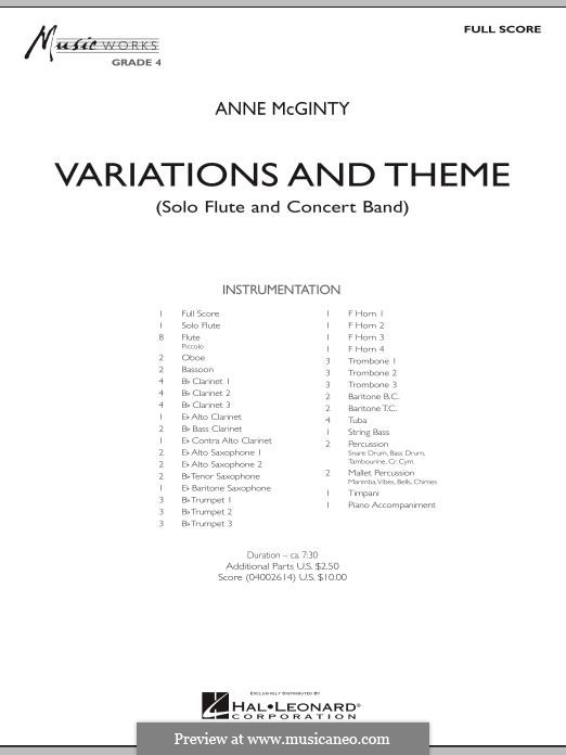Variations and Theme (for Flute Solo and Band): Full score by Anne McGinty