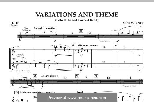 Variations and Theme (for Flute Solo and Band): Flute (Piccolo) part by Anne McGinty