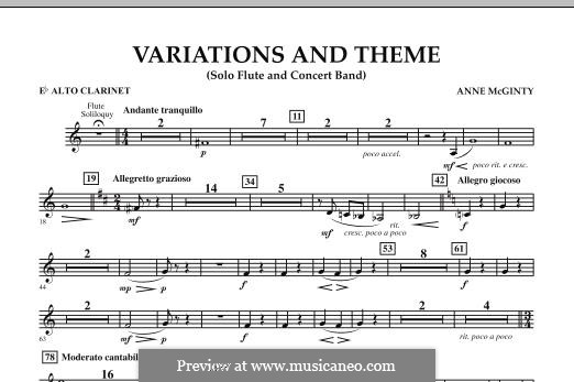 Variations and Theme (for Flute Solo and Band): Eb Alto Clarinet part by Anne McGinty