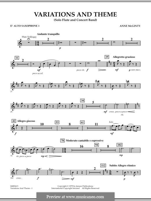 Variations and Theme (for Flute Solo and Band): Eb Alto Saxophone 1 part by Anne McGinty