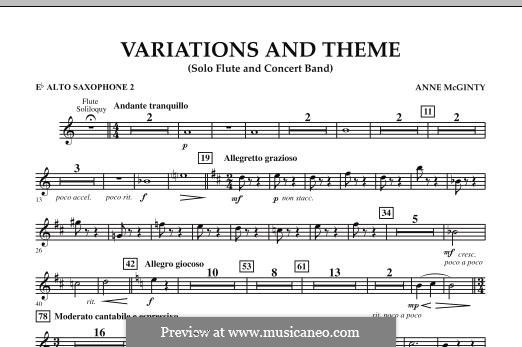 Variations and Theme (for Flute Solo and Band): Eb Alto Saxophone 2 part by Anne McGinty