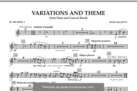 Variations and Theme (for Flute Solo and Band): Bb Trumpet 1 part by Anne McGinty