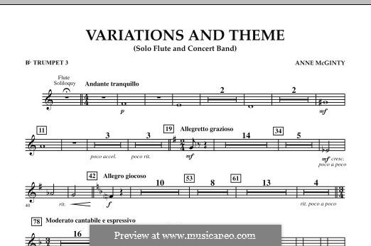 Variations and Theme (for Flute Solo and Band): Bb Trumpet 3 part by Anne McGinty