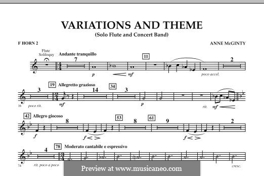 Variations and Theme (for Flute Solo and Band): F Horn 2 part by Anne McGinty