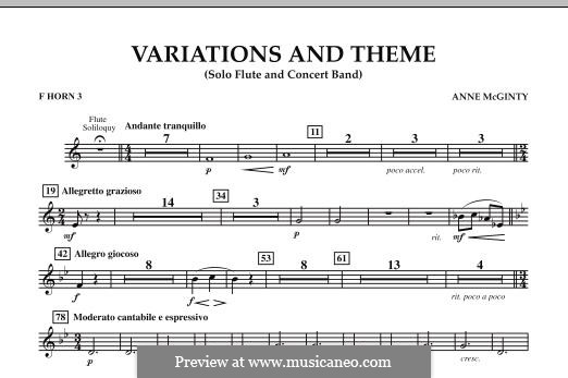 Variations and Theme (for Flute Solo and Band): F Horn 3 part by Anne McGinty