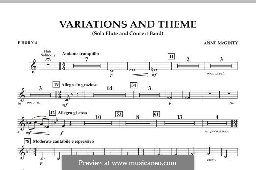 Variations and Theme (for Flute Solo and Band): F Horn 4 part by Anne McGinty