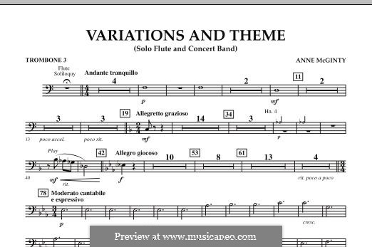 Variations and Theme (for Flute Solo and Band): Trombone 3 part by Anne McGinty
