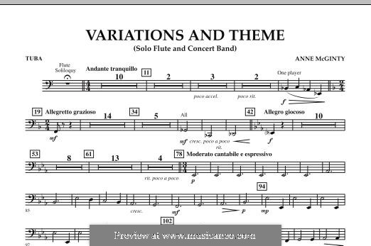 Variations and Theme (for Flute Solo and Band): Tuba part by Anne McGinty