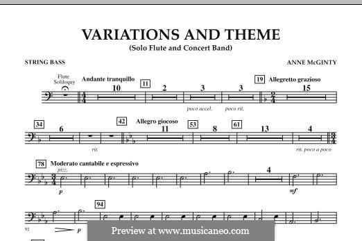 Variations and Theme (for Flute Solo and Band): String Bass part by Anne McGinty
