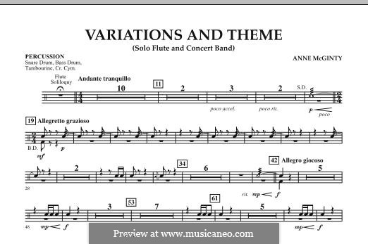 Variations and Theme (for Flute Solo and Band): Percussion part by Anne McGinty