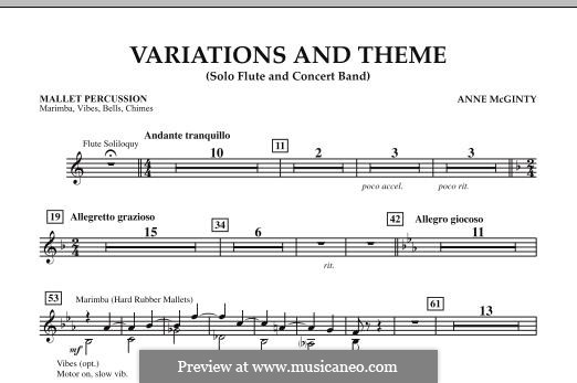 Variations and Theme (for Flute Solo and Band): Mallet Percussion part by Anne McGinty